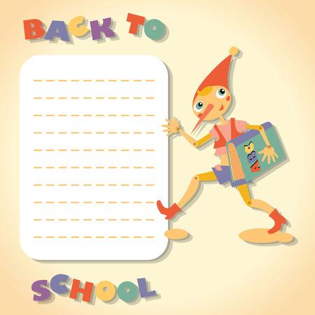 fairy story: Torna a scuola. Eroe della favola. Modello per la scheda e le note appiccicose.