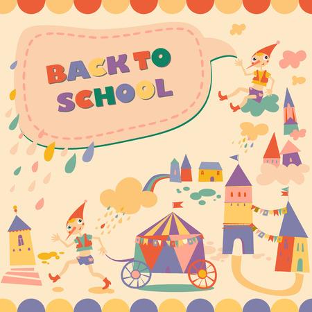 fairy story: Indietro al fumetto scuola. Eroe della fiaba. Modello per la scheda.