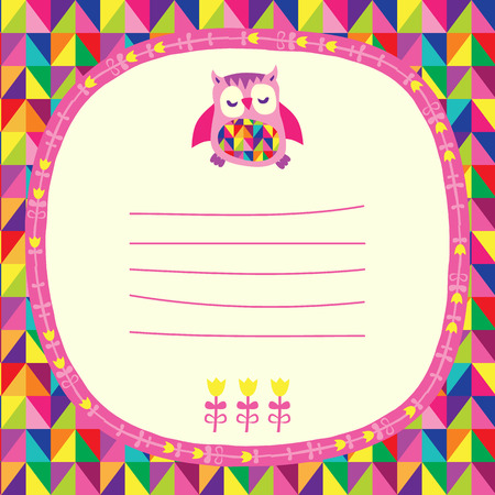 Owls doodle frame and triangles seamless background. Place for text. Hand drawn vector illustration. Vector