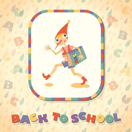 fairy story: Torna a scuola. Eroe della favola. Modello per la carta.