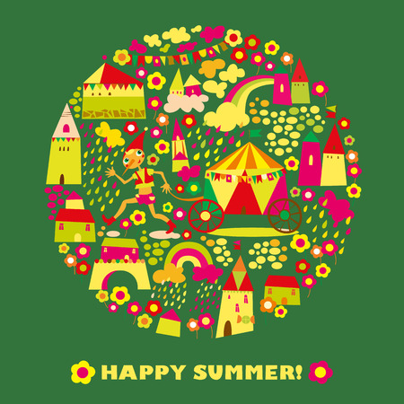 Childrens round background with multi-colored houses. Template for greeting card. Happy summer Vector