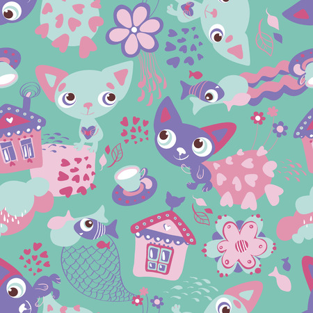 Cute funny seamless pattern with cats and fishes Illustration