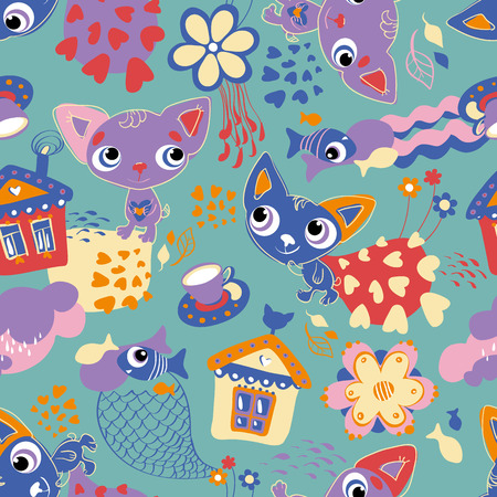 Childrens seamless pattern with cats and fishes Illustration