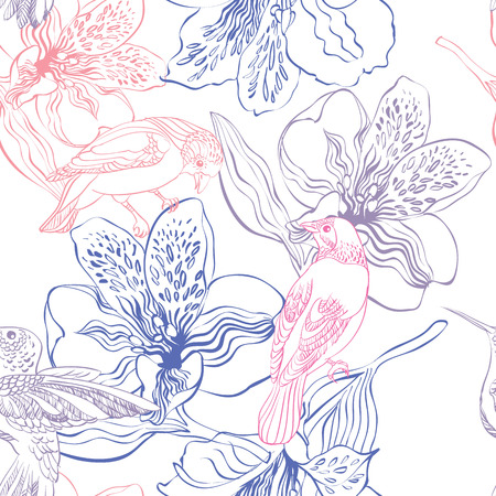 painted the cover illustration: Seamless pattern with birds and flowers