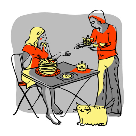 Man gives tray with food to woman sitting at table plus funny cat. Hand drawing. Vector illustration. Vector