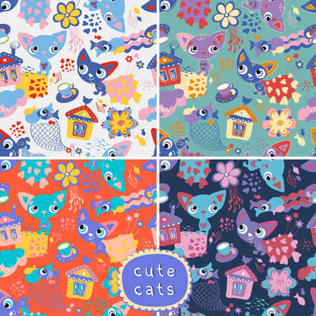 Set of 4 seamless backgrounds with cats and fishes. Vector illustration. Seamless pattern can be used for wallpaper, pattern fills, web page background, surface textures Vector