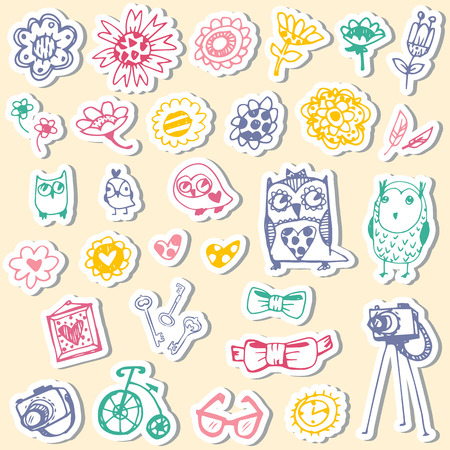 Set of stickers with owls and fashionable things. Heart, flower, bike, camera, glasses, frame. Hand drawn vector illustration.