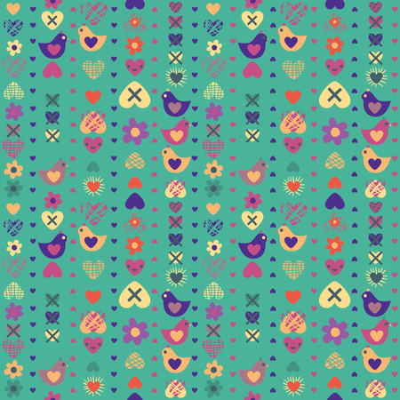 youth culture: heart bird flower seamless pattern on blue background. Vector illustration. Seamless pattern can be used for wallpaper, pattern fills, web page background, surface textures Illustration
