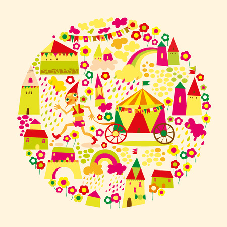 Kids circle background. Multicolored houses. Vector