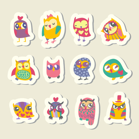 Set of cartoon owls stickers Vector