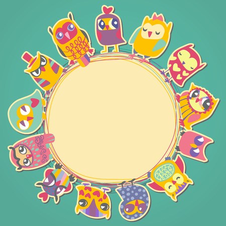 Owls cartoon card. Circle frame. Place for text. Template for design greeting card, Valentines day background Illustration