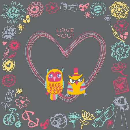 Heart frame. Owls cute gift card and sample text. Template for design cartoon greeting card, wedding invitation, Valentines day background Vector