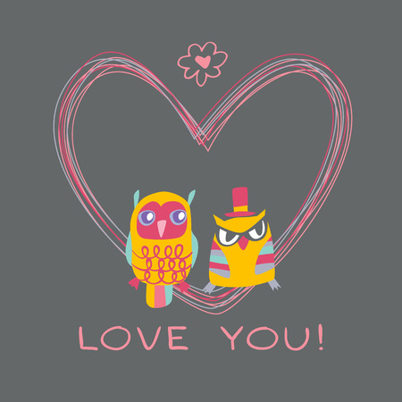 Heart owls gift card and sample text. Dark background. Template for design cartoon greeting card, wedding invitation, Valentines day background Vector