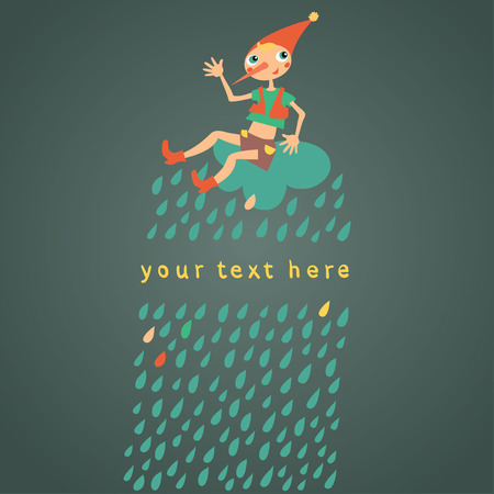 Childrens greeting card. Dark background with drops. Vector illustration