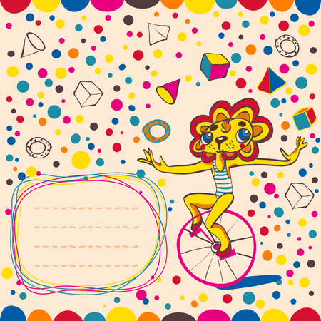 Colorful background with juggling lion by bicycle. Place for text. Hand drawing. Vector illustration. Vector