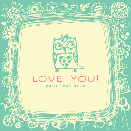 Owls cute greeting card and sample text. Template for design cartoon greeting card, wedding invitation, Valentines day background Vector