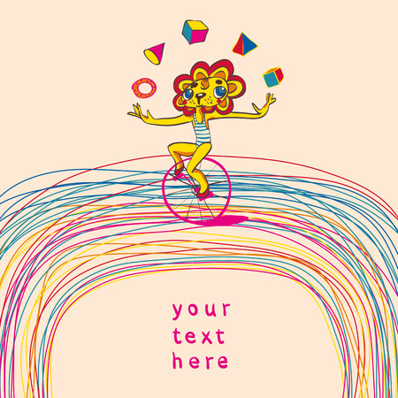 Colorful background with juggling lion by bicycle. Place for text. Hand drawing. Vector illustration.