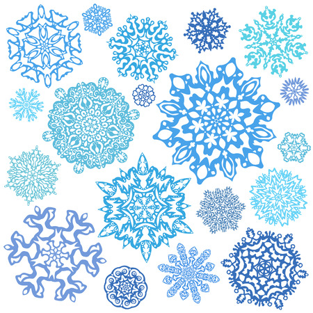 Snowflake Vectors. Set of 19 isolated elements on white background. Template for christmas winter design Illustration