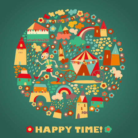 Childrens round background with multi-colored houses. Template for greeting card. Happy time Vector