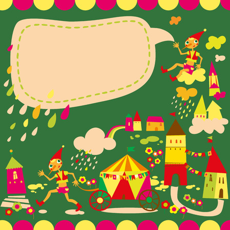 Childrens background with speech bubble. Multicolored houses. Vector