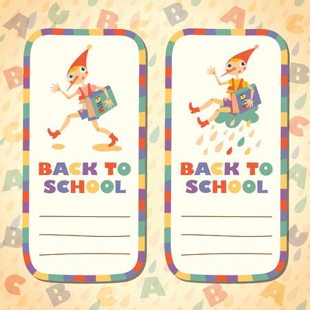 fairy story: Torna a scuola. Set di adesivi. Eroe della favola. Modello per la scheda e le note appiccicose.