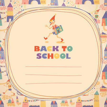 niños saliendo de la escuela: Regreso a la escuela. Héroe de cuento de hadas. Doodle marco y el lugar de texto. Plantilla para la tarjeta. Vectores