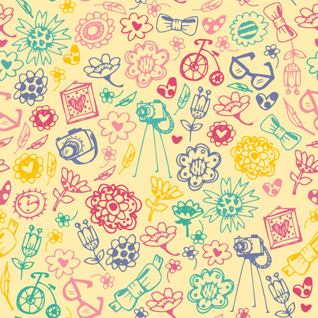 Multicolored seamless pattern with fashionable things. Heart, flower, bike, camera, glasses, frame. Light background. Hand drawn vector illustration.