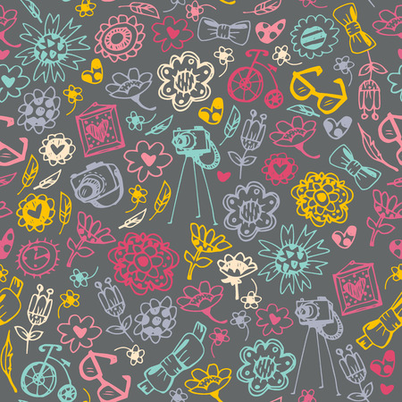 Multicolored seamless pattern with fashionable things. Heart, flower, bike, camera, glasses, frame. Dark background. Hand drawn vector illustration.
