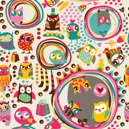 Owl seamless background. Hand drawn vector illustration. Vector