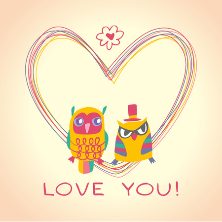 Heart owls gift card and sample text. Light background. Template for design cartoon greeting card, wedding invitation, Valentines day background Vector