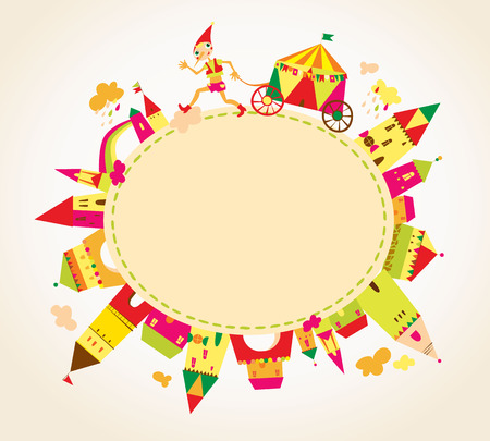Childrens background with multicolored cartoon houses for cute card. Circle frame. Place for text.