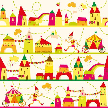 子供の背景のための家とのシームレスなパターン。壁紙、パターンの塗りつぶし、web ページの背景、表面のテクスチャにシームレスなパターンを使  イラスト・ベクター素材
