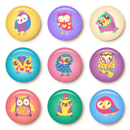 Set of owls cartoon badge template illustration Vector