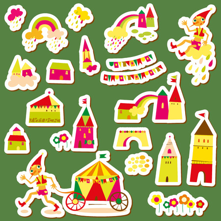 Set of childrens stickers. Multi-colored houses. Vector