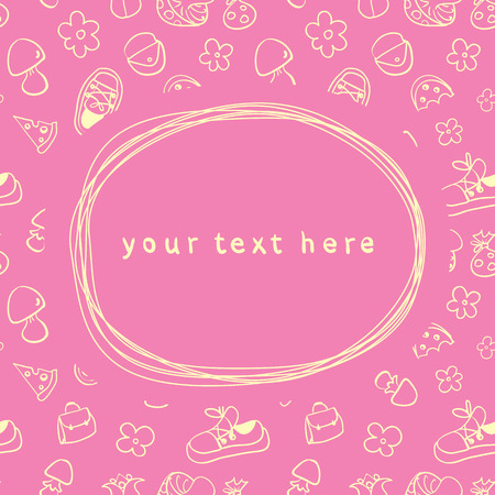 Doodle frame and seamless children background Vector