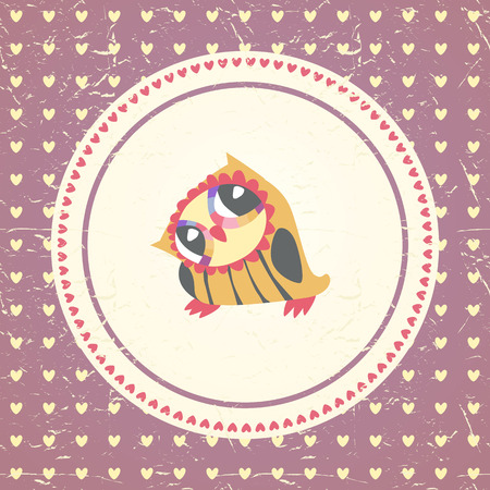 Vintage owls greeting card and hearts seamless background. Hand drawn vector illustration. Template for design cartoon greeting card, Valentines day background Vector