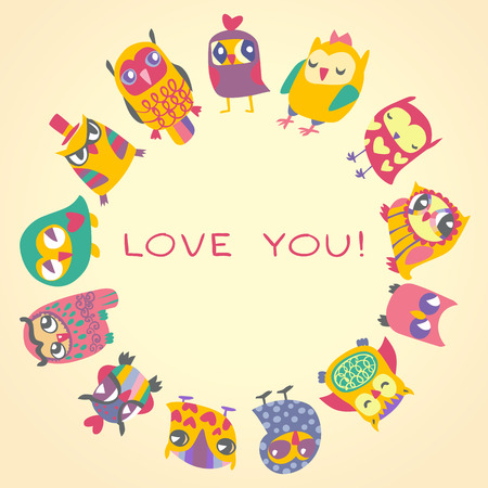 greeting card: Owls cute greeting card and sample text. Template for design cartoon greeting card, Valentines day background