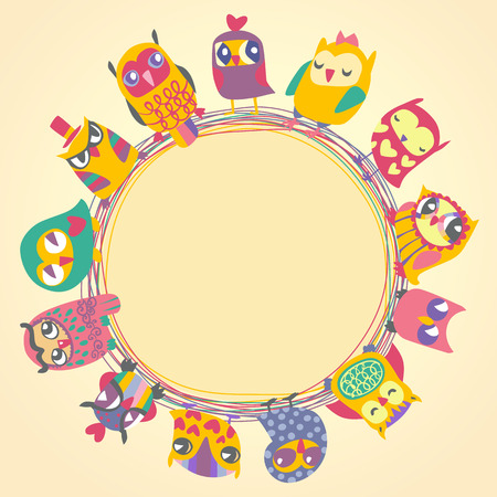 Childrens background with multicolored cartoon owls for cute card. Circle frame. Place for text. Template for design cartoon greeting card, Valentines day background