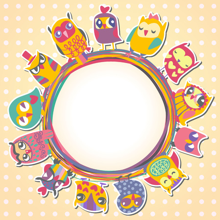 Childrens background with multicolored cartoon owls for cute card. Circle frame. Place for text. Template for design cartoon greeting card, Valentines day background Vector
