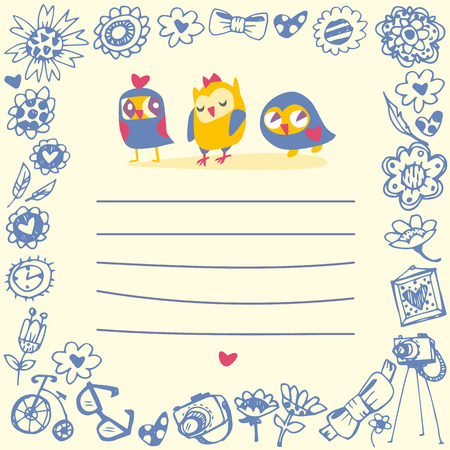 Owls cute cartoon card and sample text. Template for design cartoon greeting card and stick note Vector