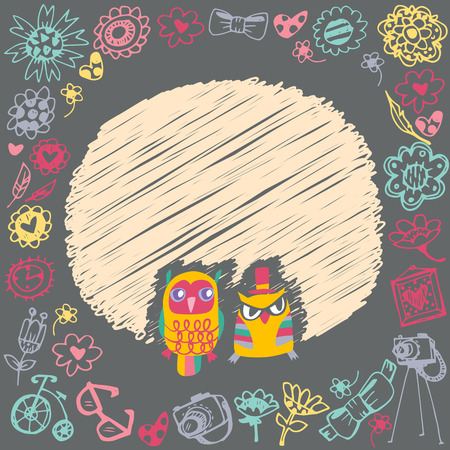 Owls cute cartoon card and sample text. Dark background. Template for design cartoon greeting card and stick note Vector