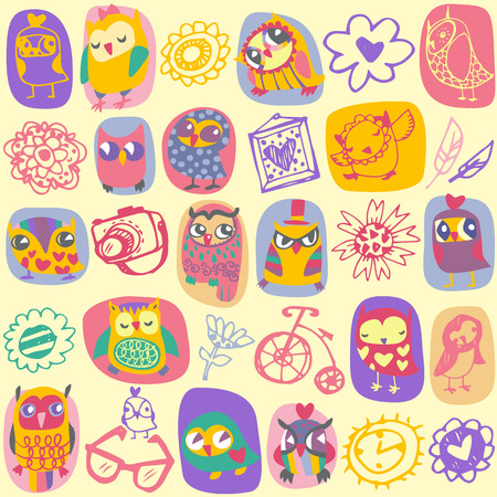 Owl seamless pattern on light background. Hand drawn vector illustration. Vector