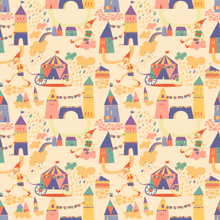 Seamless pattern with houses for childrens background. Seamless pattern can be used for wallpaper, pattern fills, web page background, surface textures