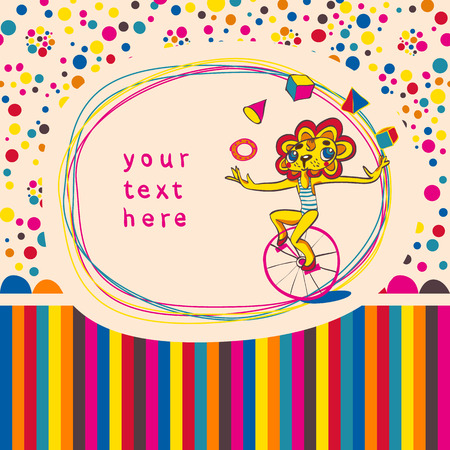 Doodle frame and seamless children background with juggling lion by bicycle. Place for text. Hand drawing. Vector illustration. Vector