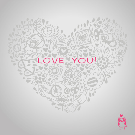 Lace heart template for greeting card and sample text. Template for design romantic greeting card, wedding invitation, Valentines day background Vector