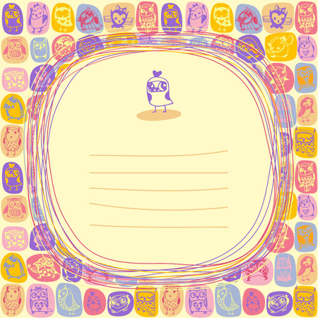 Doodle frame and owls seamless colourful background. Hand drawn vector illustration. Vector