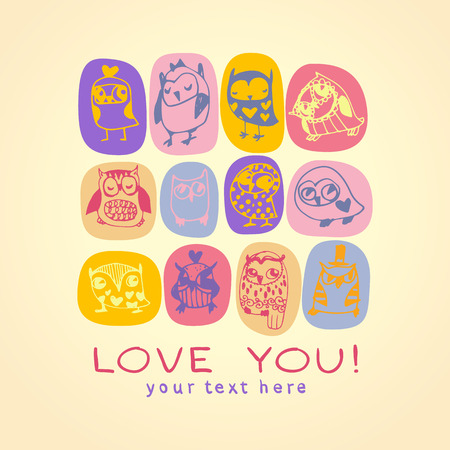 Owls cute greeting card and sample text. Template for design cartoon greeting card, Valentines day background Vector