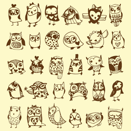Owl Doodle Collection - hand drawn - vector Vector