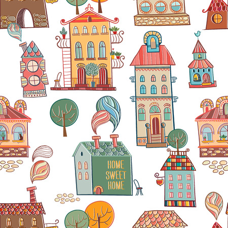 Seamless hand drawn buildings in vintage style  Vector illustration  Vector