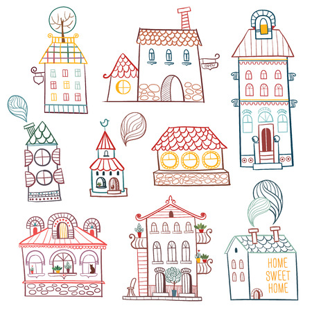 cartoon window: set of outline hand drawn buildings  Vector illustration